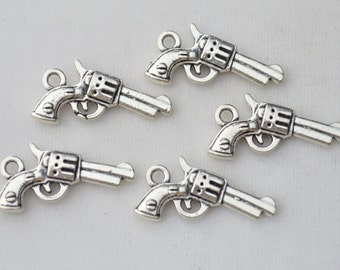 8 Pcs Gun Charms Handgun Charms Antique Silver Tone 2 Sided 23x11mm - YD0594