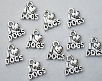 8 Pcs I Love Dog Charms Antique Silver Tone 13x12mm - YD0685