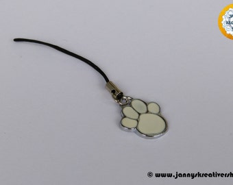 Cell phone charms - bear paw (white)