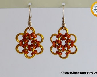Japanese flower in golden yellow orange, earrings, Chainmaille