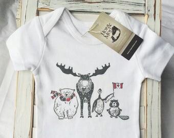 LONG SLEEVE- Northern Friends-Canadian Animal- Organic Baby Onesie