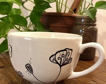 White Poppies Mug. Coffee Cup. White Mug. Poppies. Hand Drawn Mug.