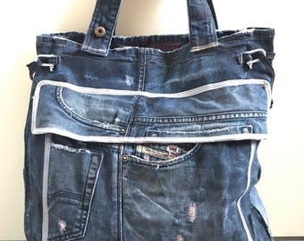 2 in 1 waxed denim tote bag and backpack, repurposed Diesel jeans