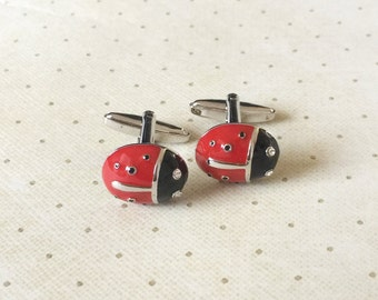 Ladybug Lady Bug Insect Cufflinks Cuff Links in Silver