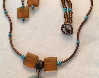 Blue & Honey Starfish pendant and earrings
