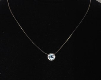 Blue Topaz Sterling Silver Minimalist Pendant and 925 Chain Necklace