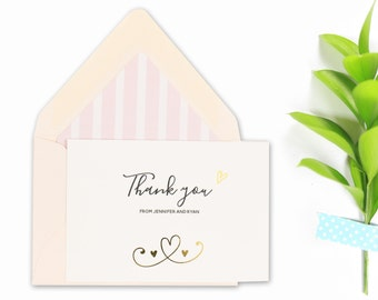 Personalized Stationery, Cute Doodles with Gold Foil, Thank You Cards, Gift for Him, Gift for Her