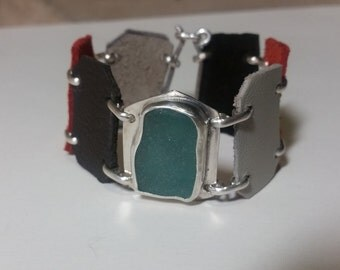 Genuine Sea Glass Bracelet. Aqua Sea Glass Leather Bracelet. Sea Glass Jewelry. Sterling Silver Sea Glass Bezel Set Bracelet. Cuff Bracelet.