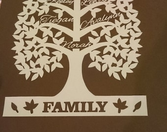 Personalised Family Tree - 5 name - family present - christmas present - birthday present (template by artycuts)