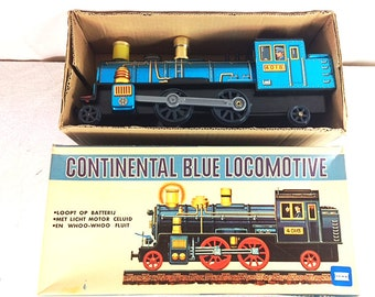 Vintage 70s Tin Toy Train - Made in Japan - Continental Blue Locomotive