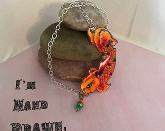 Tattoo style Koi necklace with bead detail BRIGHT colors vintage koi image
