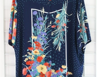 Vintage Oversize 90s Blouse Shirt All Over Flower Print Size One Size