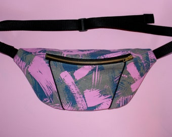 Blue and pink brush-stroke screen printed bumbag/ fanny pack / festival bag