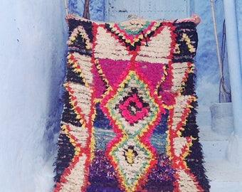 "BOUCHEROUITE RUG | Moroccan Rug | Vintage Rug | Scandinavian | Rag Rug | Tapestry | Art | 7'9""ft x 3'10""ft"