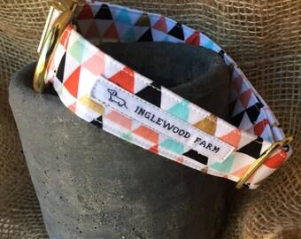 Dog Collar Triangles, Gold Dog Collar, Girl Dog Collar, Colorful Dog Collar, Fashion Dog Collar, Fabric Dog Collar, Dog Collar
