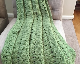 Frosty Green Crochet Blanket, Crochet Blanket, Throw Blanket, Green Blanket