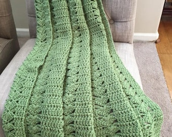 Frosty Green Crochet Blanket, Crochet Blanket, Throw Blanket