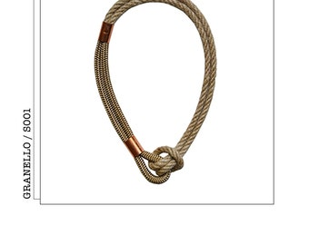 G001//crude and copper rope necklace