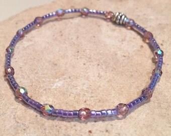 Purple bracelet for girl or teen,  Miyuki seed bead bracelet, bracelet for child, stretch bracelet, elastic bracelet, gift for child