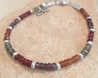 Multicolored bracelet, garnet bracelet, Hill Tribe bracelet, 'love' charm, gemstone bracelet, charm bracelet, sundance style bracelet