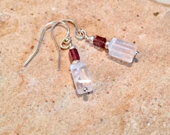 Crystal drop/dangle earrings, crystal quartz earrings, tourmaline earrings, Hill Tribe earrings, dangle earrings, sundance style earrings