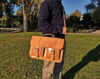 "Mens Leather Messenger Bag, Leather Briefcase 15"", Perfect Men's Gift. 100% Full Grain Leather - Handmade in Greece."