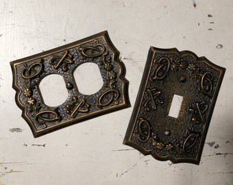 Vintage Sears, 30-4000, Brown Foliage Design Switchplate and Outlet Cover (sold as set)