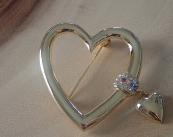 Golden Heart Brooch with Rhinestones