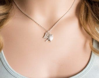 Silver bird necklace,bird necklace, bird jewellery, bird, little bird necklace, chick jewellery, baby bird, bird necklace, SPBIRN0119