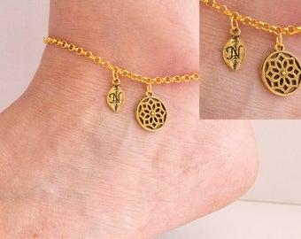 Gold initial boho anklet,boho anklet, ankle bracelet, Gold anklet, anklet, beach jewellery, anklet, beach jewellery, GPBOHOAN01