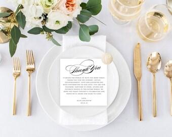 Printable Wedding Reception Thank You Card || Elizabeth Suite, Thank You, Sign, Decor, Reception, Wedding