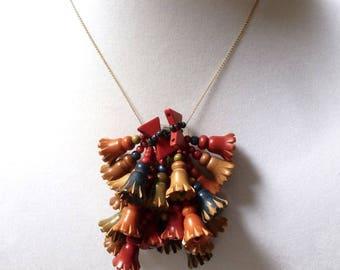 Miriam Haskell WOOD dangle bell FLOWER fur dress CLIP pendant