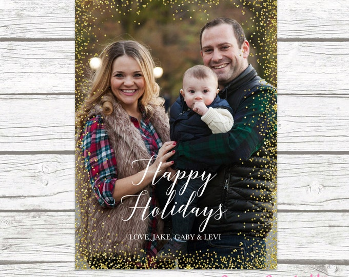 Gold Confetti Border Christmas Holiday Photo Card, Gold Glitter Card, Personalized Printable Christmas Card, Printed Christmas Card