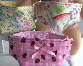 "SET OF THREE Diapers Fits My Bitty Baby and Other 15"" Baby Dolls"
