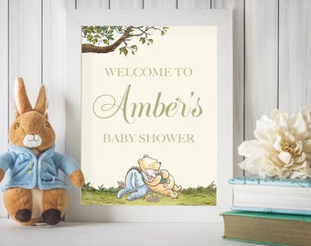 Classic Winnie The Pooh Baby Shower Welcome Sign, Winnie Pooh Sign, Welcome Baby, Winnie Door Sign, Pooh Door Sign, Personalized, Printable