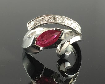 White Gold Diamond Pave and Marquise Ruby - Modern Ruby Engagement Ring  - 14K White Gold Pave Diamond and Genuine Ruby Free Form Ring