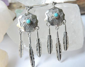 Turquoise Feather Sterling Silver Earrings