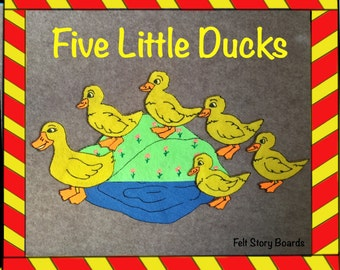 5 Little Ducks Felt Board Set, Flannel Story Set, Nursery Rhymes, Toddler Activities, Preschool Activity