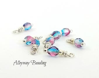 Aqua Charms - Fuchsia Charms -  4mm x 11mm Crystal Charms with jump rings - Tiny Charms - Prewired Beads - Bead Dangle - Set of 4 Pcs