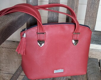 Vegan Leather Handbag, Red Handbag, Lola Handbag, Swoon Lola, Faux Leather Purse, Red Purse, Medium Size Purse