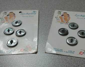 Vintage Lucky Day Buttons (Lot of 8) - Mother of Pearl Gray 1950's Two-Hole