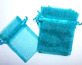 10 Small Teal Green Organza Gift Bags, Party Favors, 10cm x 15cm, Destash, Sachet, Jewelry Pouchs, Teal, Organza Bag, Baby Shower, Small Bag