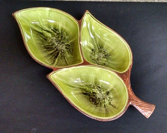 Treasure Craft USA Leaf Dish with Wood Grain Exterior - Green Black and White Glaze - Mid Century Modern 3 Leaf Ceramic Relish / Snack  Dish