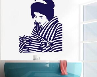 Wall Vinyl Decal Japanese Geisha Asian Modern Pop Art Decor (#2403dn)