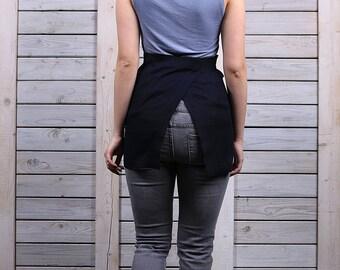 Florist linen apron / Wrap linen apron / Linen tool apron / deep night blue