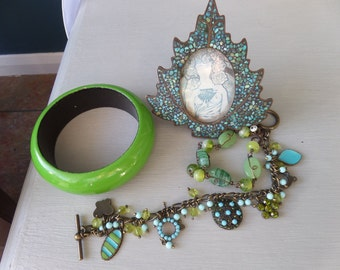 FREE SHIPPING Bohemian Green and Turquoise Bracelet, Bangle and Photo Frame Set, Resin and Metal, Mosaic, Copper Tone Metal Charm Bracelet