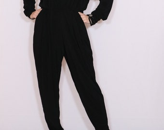 Black jumpsuit Long sleeve jumpsuit Batwing jumpsuit