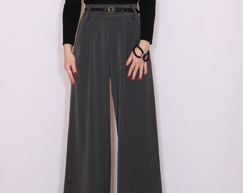 Wool pants High waist Wide leg pants Gray trousers with pockets
