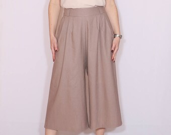 Taupe linen culottes High waist Wide leg capris with pockets Mid calf pants