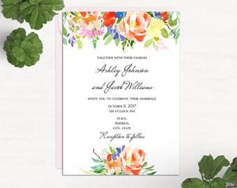 Boho floral wedding invitation Template word Summer invites printable Spring invitation cards Modern wedding Flowers invitations diy 1W127